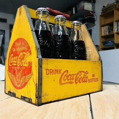 Vintage Coca Cola Wood Caddy & Bottles From Paris GREAT CONDITION 👀!!!