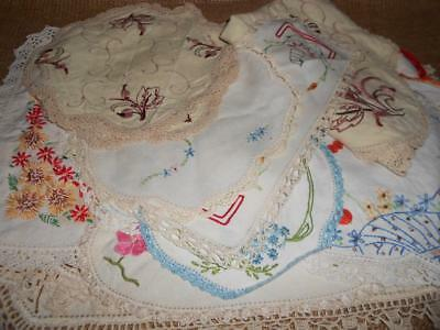 x 15 Bulk Lot Assorted Vintage Embroidered Doyleys /Doilies