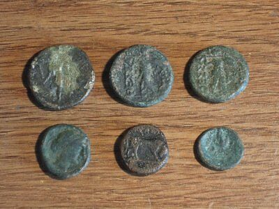 Lot of 6 Ancient Greek Bronze Coins - Interesting Variety