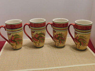 Lot of 4 Tall Ceremic Coffee Cups by Home Designs with Handpainted Roosters