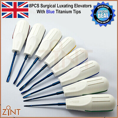 8Pcs Surgical PDL Ligament Root Extracting Elevators With Blue Titanium Tips CE