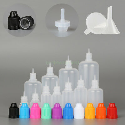 3ml-120ml LDPE Empty Plastic Squeeze Dropper Juice Eye Liquid Bottles Funnel
