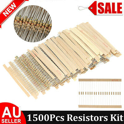 1500 Pcs 75 Values 1 ohm~ 10M ohm 5% 1/4W Carbon Film Resistor Assorted kit S9G4