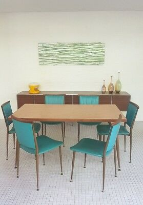 50s - 60s VINTAGE RETRO DINING SUITE SETTING 6 METAL & WOOD CHAIRS FOLDING TABLE