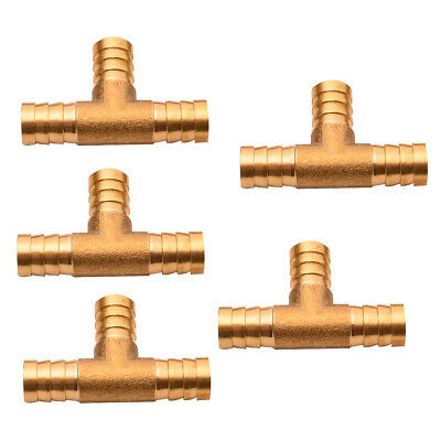 5Pcs 3/8'' Hose Barb Brass Pipe Tee 3 Way T Fitting Thread Gas Fuel Water Parts
