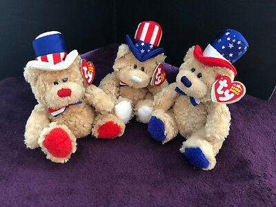 Ty Beanie Babies - 3 Independence bears  (red-white and blue)
