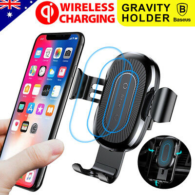 Baseus Qi Wireless Charger Car Gravity Air Vent Mount Holder iPhone X 8 Samsung