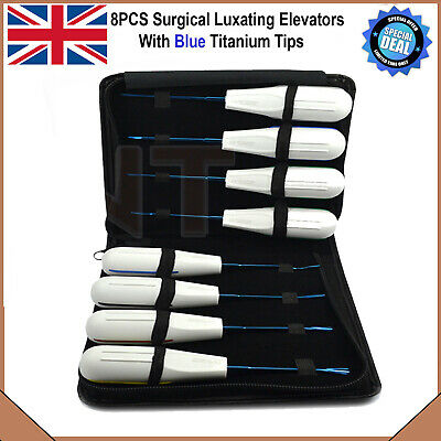Dental Tooth Root Luxating Elevators Titanium Coated Free Leather Pouch 8PCS New