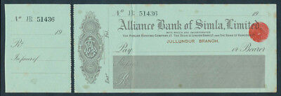 India: 1920s Alliance Bank of Simla. RARE Unissued cheque on Jullundur Branch