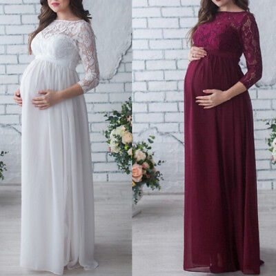 Maternity Photography Props Pregnant Women Lace Long Maxi Dress Evening Gown