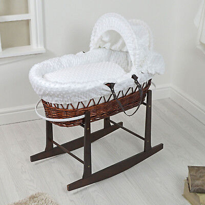 New 4Baby Dark Wicker / White Dimple Padded Baby Moses Basket & Rocking Stand