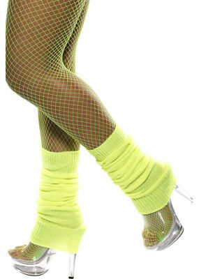 Womens 80s Neon Yellow Legwarmers