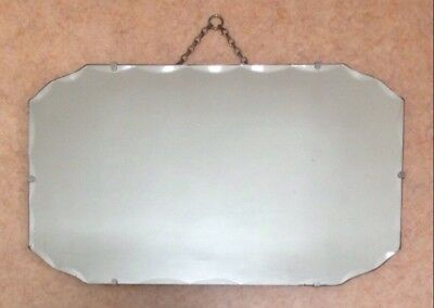 "VINTAGE 1930s ART DECO 24"" X 14"" FRAMELESS- BEVELLED-WALL MIRROR"