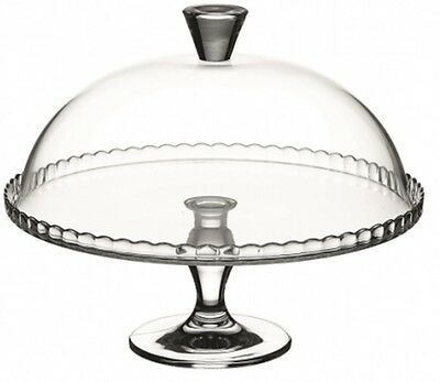 Glass Cake Cupcake Muffin Display Stand Serving Plate with Cake Dome Lid