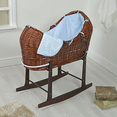 4Baby Dark Wicker / Blue Dimple Padded Snooze Pod Moses Basket & Rocking Stand