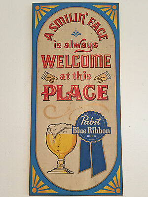 "Pabst Blue Ribbon Beer Wooden Painted Sign Vintage PBR ""Smiling Face is Welcome"""