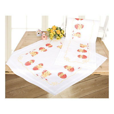 Embroidery Kit Tablecloth Happy Easter Design Stitched on Cotton Fabric  80x80cm