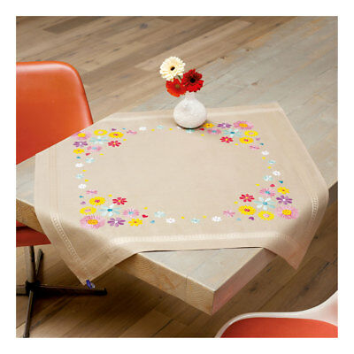 Embroidery Kit Tablecloth Bright Flower Design Stitched on Ecru  Size 80 x 80cm