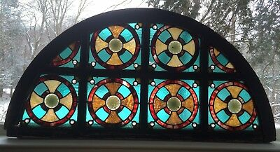 Authentic American Stained Glass Window Transom Antique From The East Side NYC