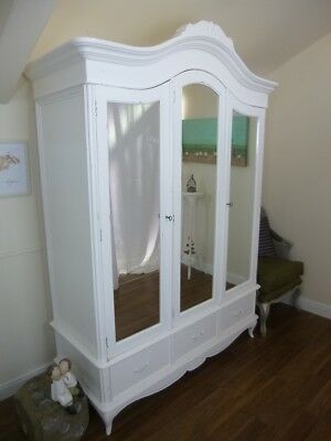 Triple French Charroux Armoire In White - Handmade Triple Wardrobe