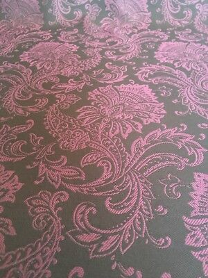 Upholstery Fabric Brown Pink Damask Fuschia Polyester Bty 8 38