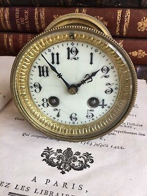 Beautiful Antique French Mantle Clock Movement & Glass Front Signed Japy Freres