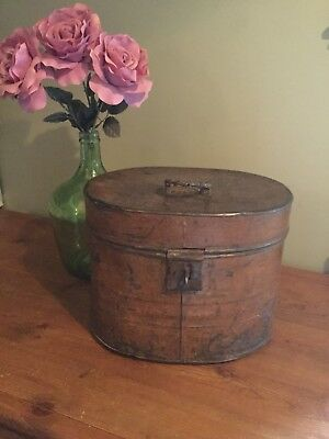Antique Victorian Large Tin Hat Box Storage carrier