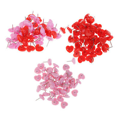 50x Heart Shape Head Drawing Pins Thumb Tacks Push Pins for School Office 12mm