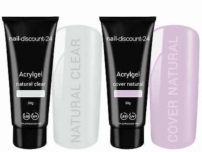2x30g Poly AcrylGel DualSystem Tube NATURAL LOOK clear cover natural UV LED Tips