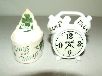 "Vintage Pair ""Rings and Things"" Porcelain Ceramic Trinket Dish Shamrock & Clock"