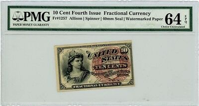 Fr. 1257 Ten Cent 10c Fractional Currency Fourth Issue Ch. Unc 64 EPQ PMG
