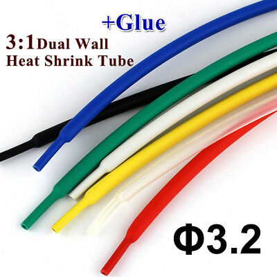 2 Meters 3.2mm Heat Shrink Tube with Glue Adhesive Lined 3:1 Dual Wall Tubing