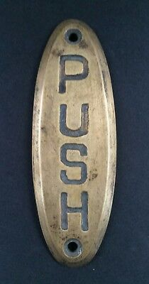 "PUSH Door or Bell sign Antique Original Reclaim Art Deco Solid Brass 4"" #F6"