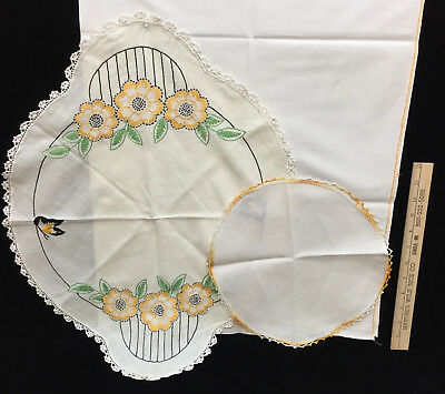 Flour Sack Kitchen Towel Doilies Embroidered Crocheted Floral Vintage Lot of 3