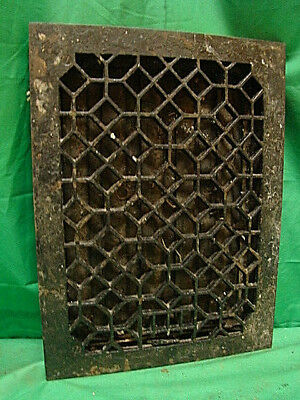 Antique Late 1800's Cast Iron Heating Grate Unique Ornate Design 16 X 12  G