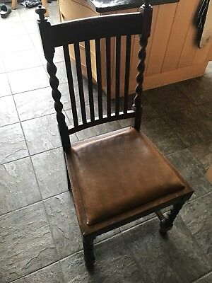 A Set of 6 Antique Oak Barley Twist Dining Chairs- collection only. 1 damaged