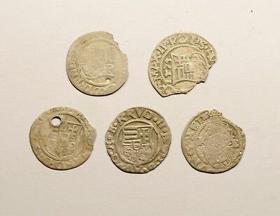 Lot Of 5 Medieval Hungarian Silver Coins