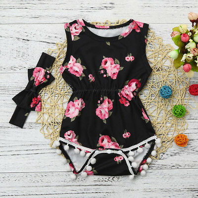 Kids Baby Girls Floral Tassel Jumpsuit Romper Bodysuit Clothes Outfits+Headband