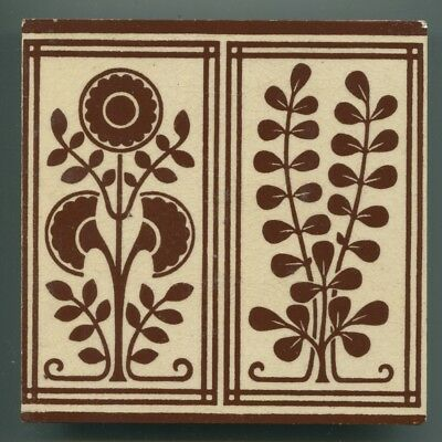"""Block printed 6"""" square Arts & Crafts tile by WB Simpson, c1890"""