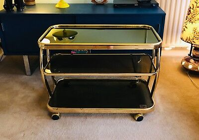 Morex Vintage Retro Italian Brass and Smoked Glass drinks trolley/bar cart/