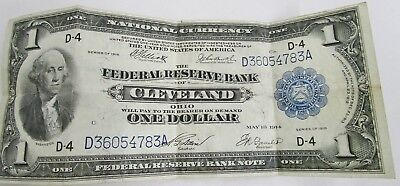 1914 $1 One Dollar National Currency Federal Reserve Cleveland Large Size Note