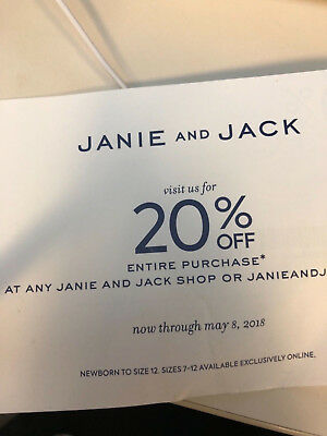 Janie and Jack Coupon 20% Off ENTIRE Purchase Expires 5/08/18