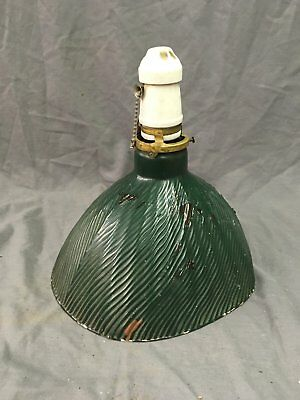 Vintage Industrial Green X-Ray Mercury Glass Light Fixture Shade Old 142-18E