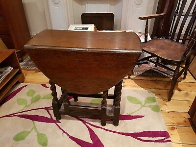 Antique Oak Barley Twist Gate Leg Table