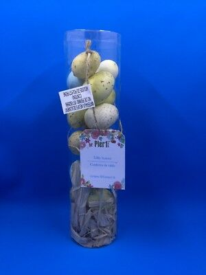 Pier 1 One Imports Easter Spring Table Scatter Eggs  NIB Blue White Yellow