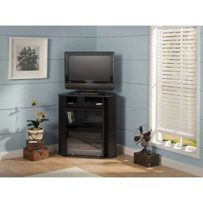 Black Corner Tv Stand Cabinet Console Table Modern Entertainment
