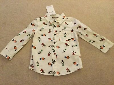 Baby boys M&S animal solders print long sleeve shirt top BNWT size 12 - 18 mths