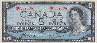 1954 Bank of Canada Devil's Face $5 Bank Note - B/C - Coyne/Towers