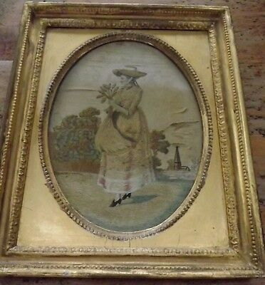 Antique Georgian Regency Silkwork Embroidery Picture -Lady With Harvest
