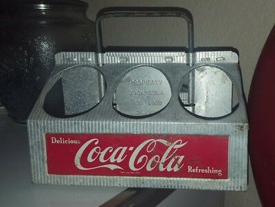 1950's Aluminum 6 Pack Coca-Cola Coke Bottle Caddy Carrier Holder FREE SHIPPING